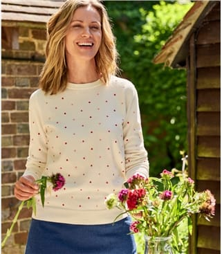 Womens Wool Blend Embroidered Spot Jumper