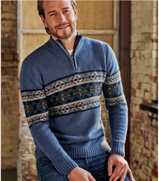 Lambswool Fairisle Zip Neck
