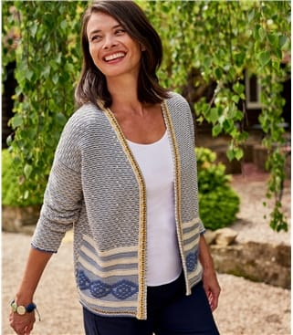 Womens Cotton Aztec Cardigan
