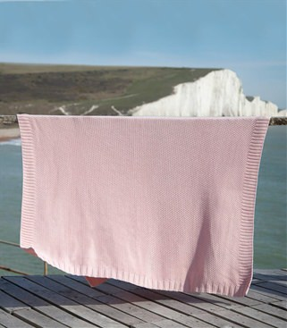 Image of 100% Cotton Moss Stitch Blanket 1size Light Pink