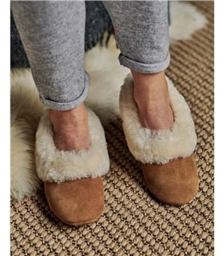 Sheepskin Collar Ballerina Slippers