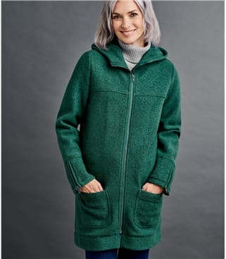 Womens Boiled Wool Hooded Coat