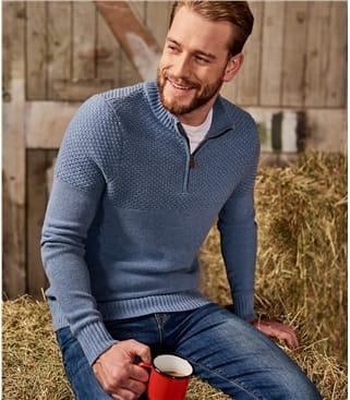 Pull col zippé à maille fantaisie - Homme - Pur Coton