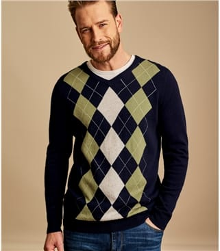 Mens Cashmere Merino V Neck Argyle Sweater