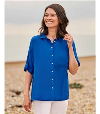 Loose Fit Short Sleeve Blouse