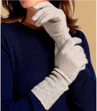 Womens Premium Pure Cashmere Long Rib Gloves