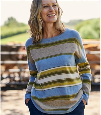Womens Merino Wool Multi Stripe Boat Neck Sweater