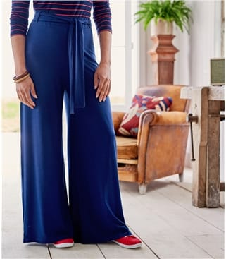 Womens Jersey Wide Leg Trousers