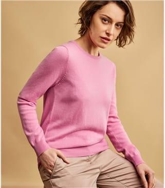 Pullover mit Rundhalsausschnitt aus Merino- und Kaschmirwolle für Damen
