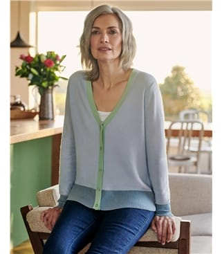 Contrast Trim V Neck Cardigan