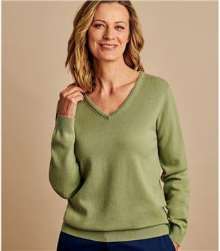 Pullover mit V-Ausschnitt aus Merino- und Kaschmirwolle für Damen