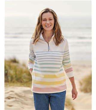 Sweat-shirt à col zippé - Femme - Pur Coton Bio