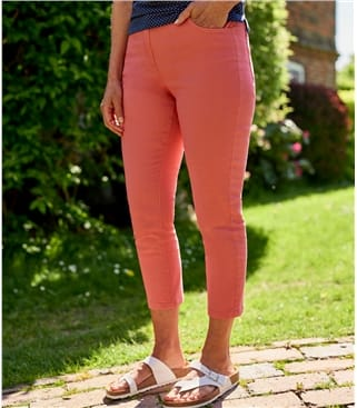 Womens Cropped Colour Jeans 10 Washed Coral