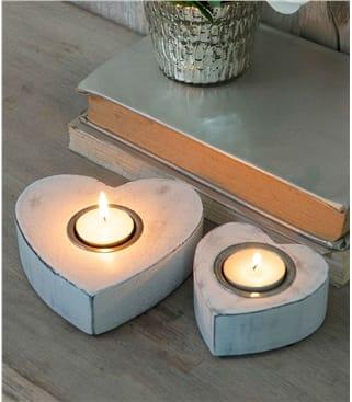 Lot de 2 porte-bougies motif coeur - Maison - Bois