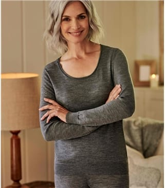 Womens 100% Fine Merino Sleep Top