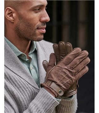 Mens Suede Glove with Leather Trims