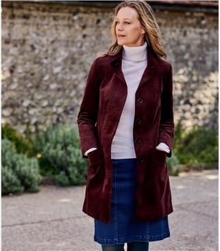 Funnel Neck Moleskin Coat