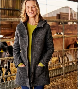 Hooded Boiled Wool Coat