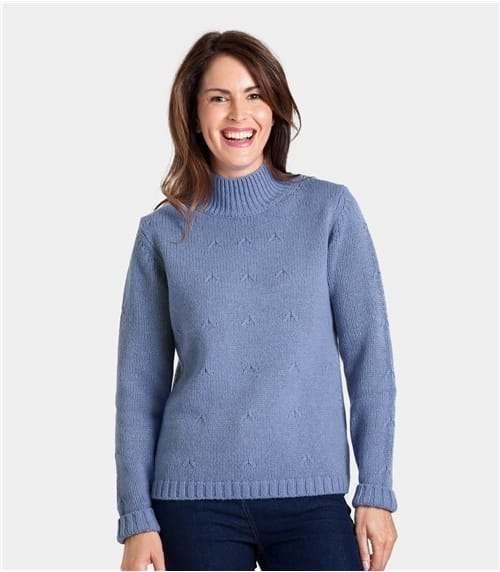 Womens Wool Blend Funnel Neck Hidden Cable Jumper