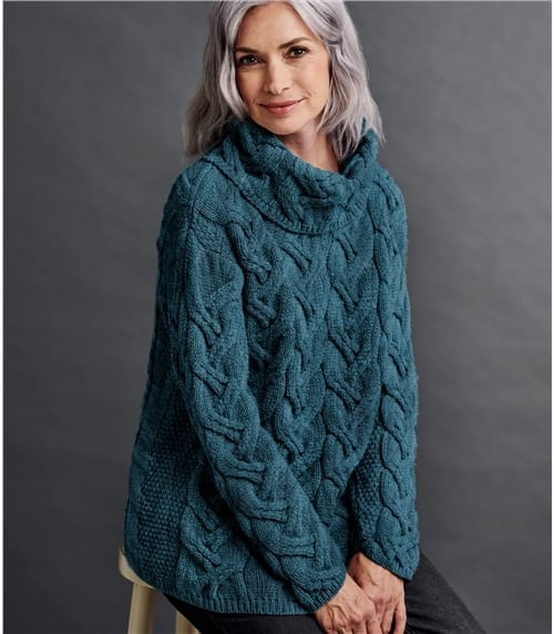 Womens Merino Super Soft Cowl Cable Jumper