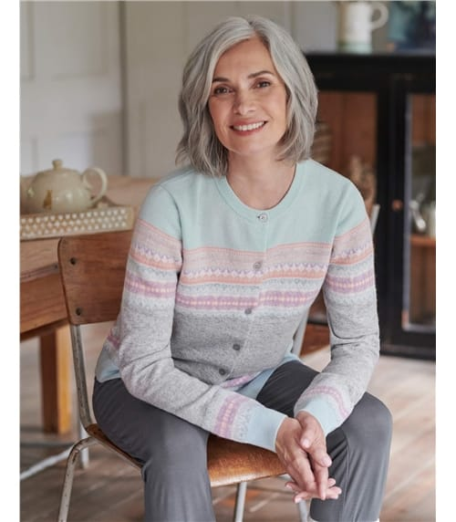 Strickjacke mit Fair Isle-Muster und Rundhalsausschnitt für Damen