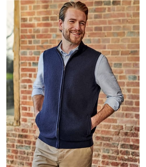 Cashmere Merino Zip Through Gilet