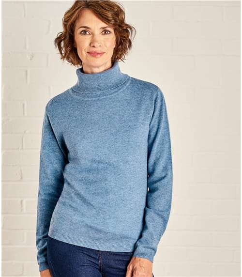 Womens Cashmere and Merino Polo Neck Jumper