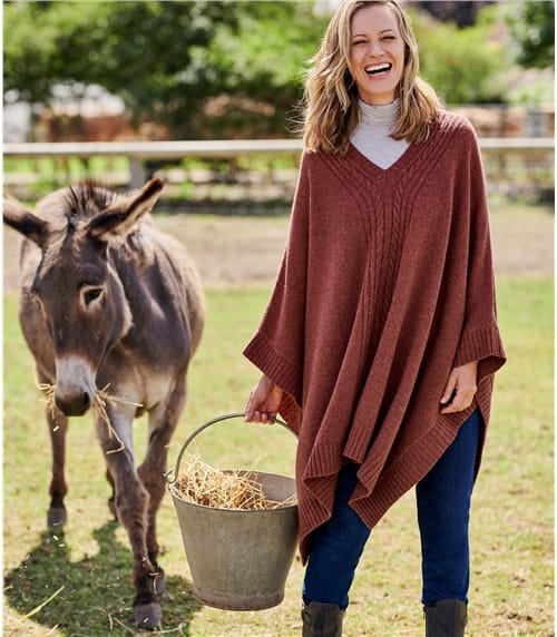 Womens Lambswool V Neck Cable Poncho