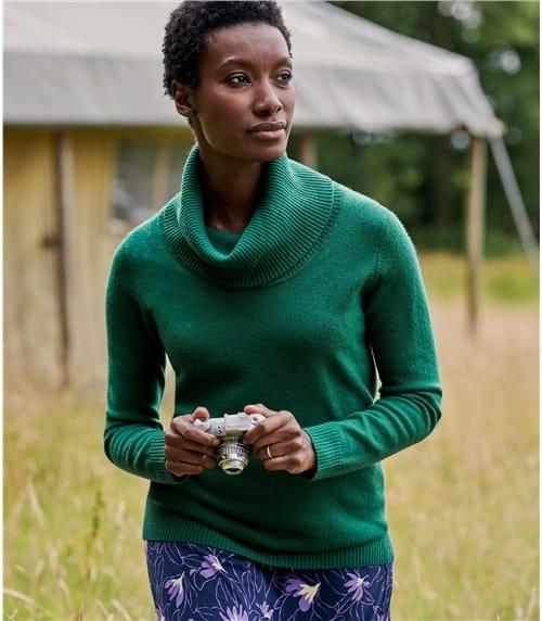 Pullover mit Wasserfallausschnitt aus Kaschmir und Merinowolle für Damen