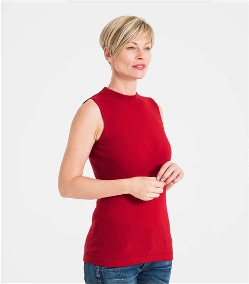 Womens Cashmere and Merino Sleeveless Turtle Neck Sweater