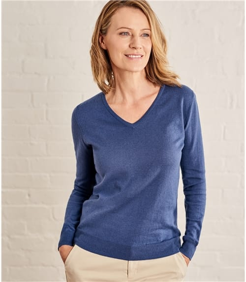ab44b28347d2 Womens Cashmere and Cotton V Neck Jumper