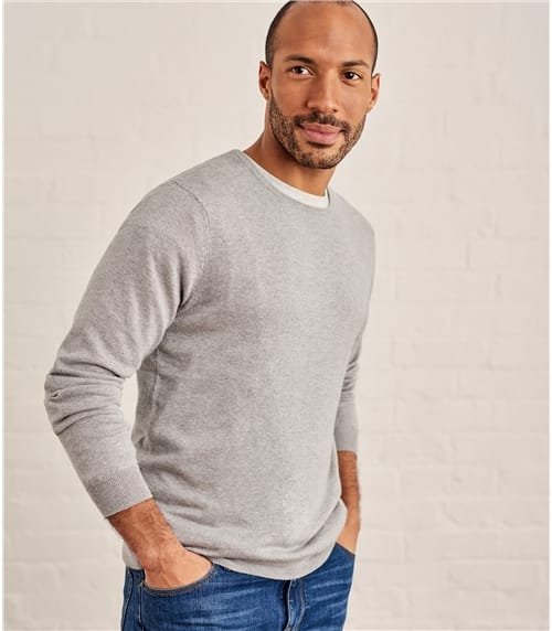 Mens Silk and Cotton Crew Neck Jumper