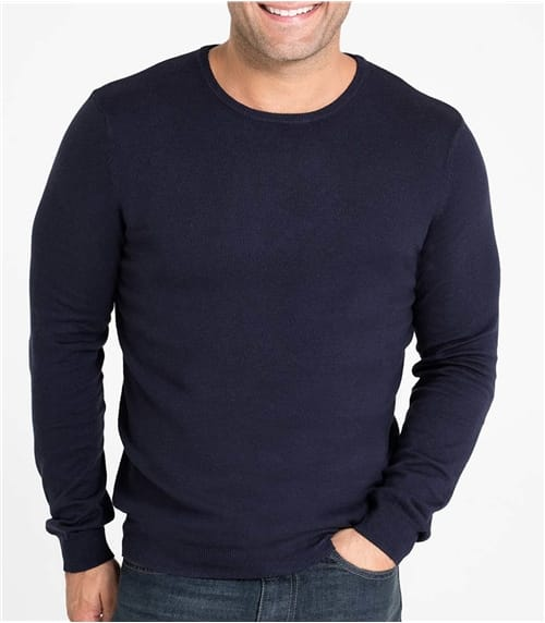 Mens Silk and Cotton Crew Neck Sweater