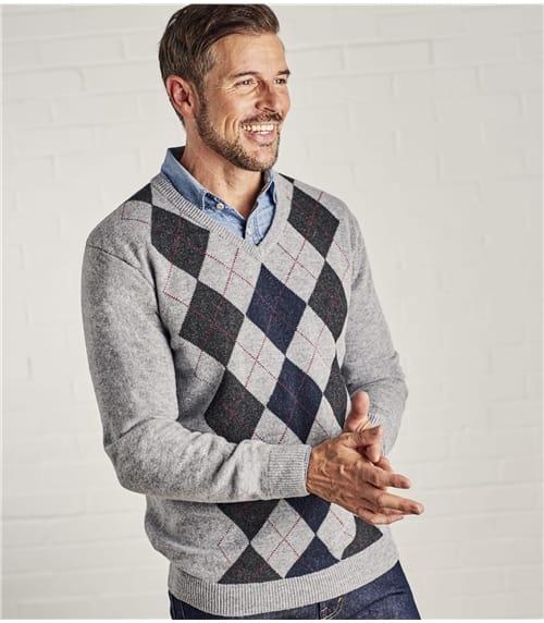 Pullover mit Argyle-Muster und V-Ausschnitt aus Lammwolle für Herren