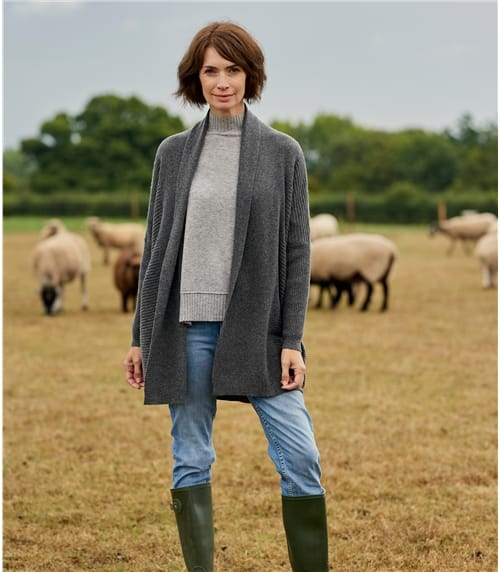 Womens Luxurious Cashmere and Merino Relaxed Rib Cardigan