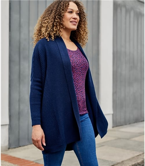 Womens New Cashmere and Merino Relaxed Rib Cardigan