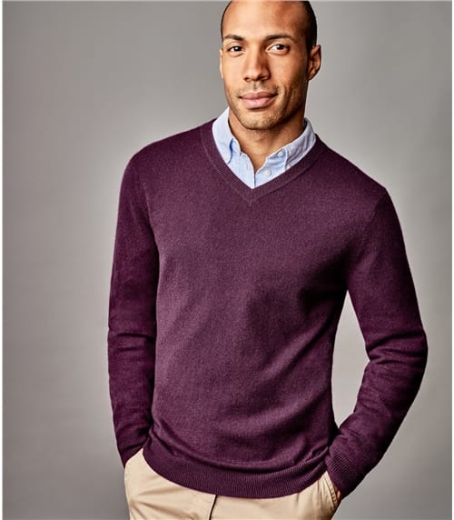 Mens Pure Cashmere V Neck Sweater