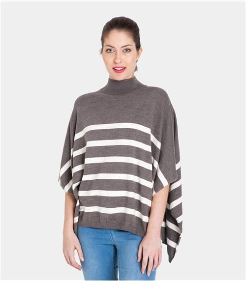 Womens 100% Cotton Heathered Cotton Stripe Poncho