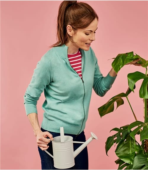 Womens Cashmere and Cotton Zip Through Cardigan
