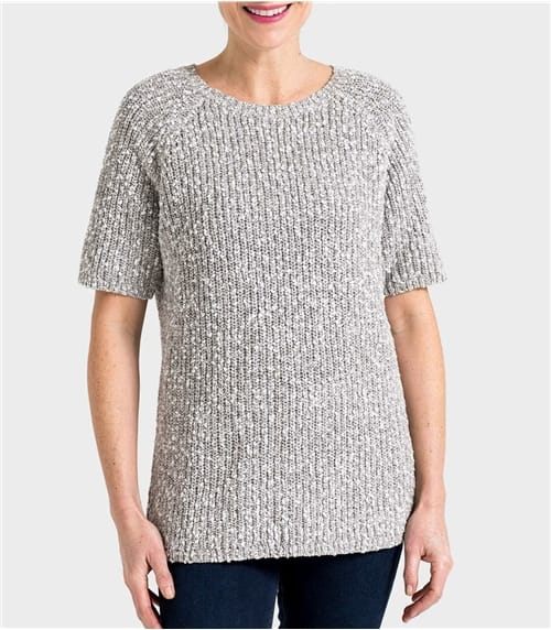 Womens Linen and Cotton Pointelle Detail Slub Knit Jumper