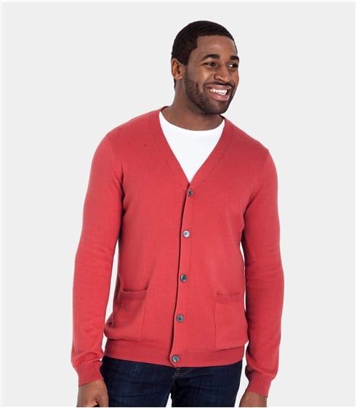 Mens Cashmere and Cotton V Neck Cardigan