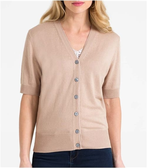 Womens Silk and Cotton Short Sleeved V-Neck Cardigan