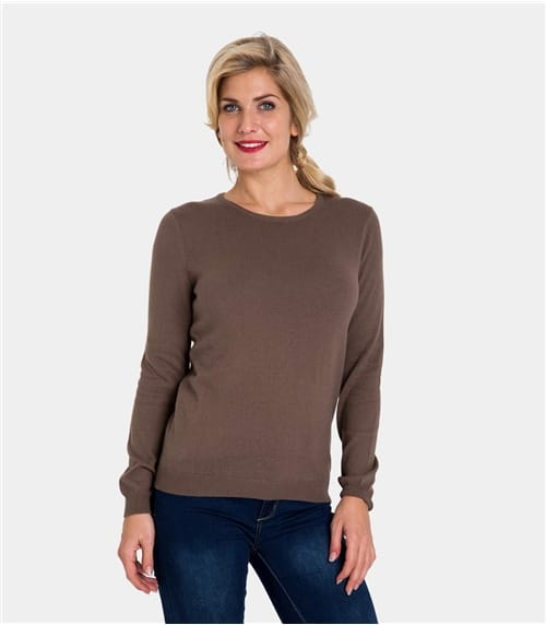 Womens Cashmere and Cotton Crew Neck Jumper