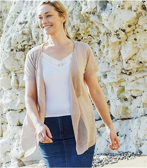 Womens Lightweight Linen Mix Short Sleeve Waterfall Cardigan