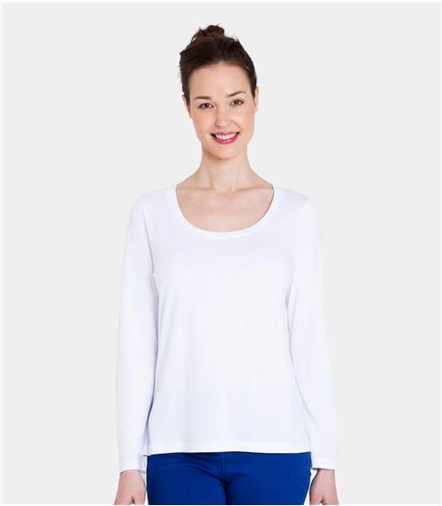 Womens Jersey Long Sleeve Scoop Neck Tee