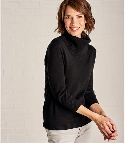 Womens Cashmere Merino Cowl Neck Sweater