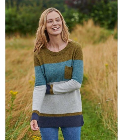 Pullover mit Farbblöcken und Taschen