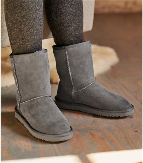 Chaussons style bottines - Femme - Peau de Mouton