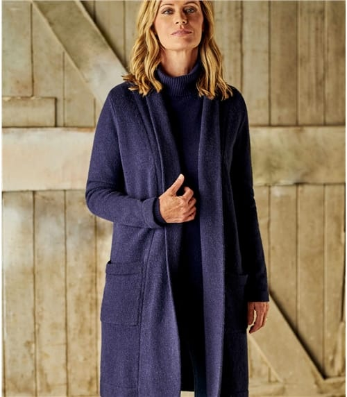 Womens 100% Lambswool Edge To Edge Coatigan With Pockets