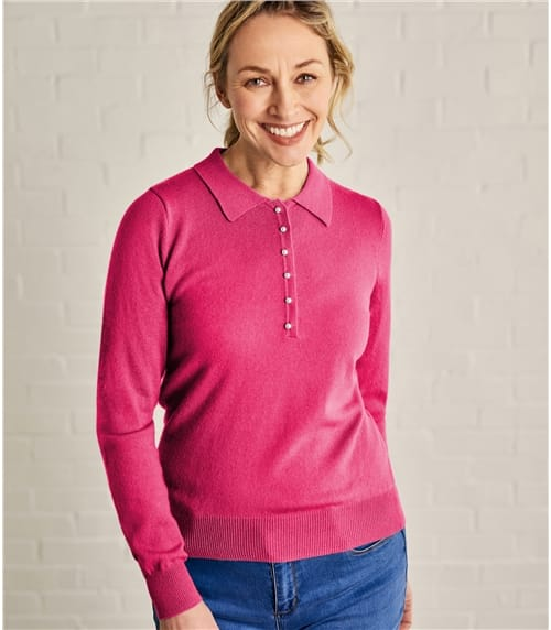 Ladies Cashmere and Merino Knitted Polo Shirt